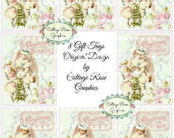 Gift tag sheet Pink CHRISTMAS Angels vintage shabby Compliments of the Season digital download  Pink Roses ECS buy 3 get one free