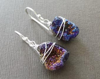 Raw Druzy Titanium Nugget Earrings Purple Lavender Blue Wire Wrapped