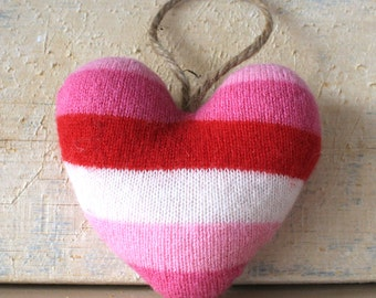 Pink, Red and White Striped Valentines Heart Ornament, Valentine's Day Ornament, Valentines Decor, Valentines Heart