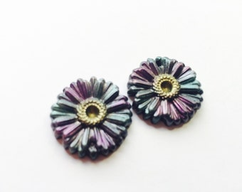 Black Magic Flower Handmade Polymer Clay 30 mm Focal Beads