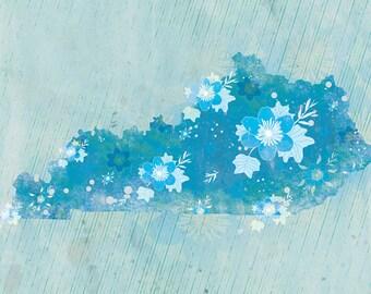Kentucky State Print - Tulip Poplar Print - Kentucky State Art - Kentucky Blue Modern