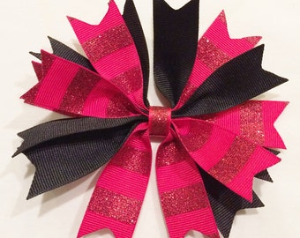 Red And Black Bow Spiked Hair Bow Red Spiked Bow Girl Red Hair Bow Black Spiked Bow Barrettes And Clips
