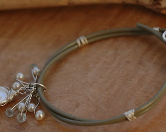 sage green leather bracelet, freshwater pearls, wire wrapped,