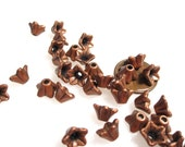 50% Off Bead Caps, 20 pcs Bell Flower Caps, Antique Copper plated 5x9mm double sided bead caps, BC0020
