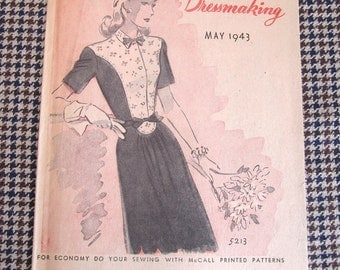 1940's Vintage Pattern Catalog Booklet McCall Style News May 1943 ORIGINAL