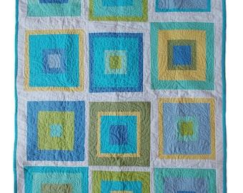 20% SALE Modern Baby Quilt 'Green Lоves Blue', Modern Lap Quilt, Blue Boy Quilt, Modern Baby Boy Quilt, Blue Baby Quilt, Green Baby Quilt