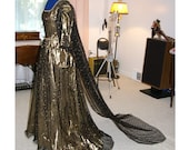 Black Lace & Coppery Gold Renaissance Gown Dress with Crown/Headpiece - SCA/Mediaeval/Medieval/Theater/Costume/Gothic/Steampunk