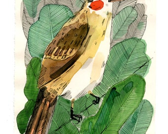 Bird in leaves, painting on paper