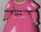 18 inch American Girl Crochet Pattern - Ariel's dinner with Eric Gown
