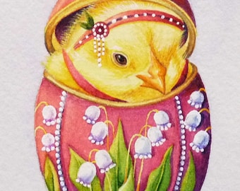 Faberge' Inspired Easter Egg & Chick No 2 Miniature Art - Limited Edition ACEO Giclee Print reproduced from the Original Watercolor