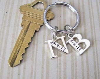 personalized initial key chain - stamped with your date(s)