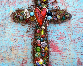 Rustic Cross Cracked Red Heart Wall Cross - Baptism Gift Cross - Christian Cross - Hanging Cross - Confirmation Gift for Girl - Mother's Day