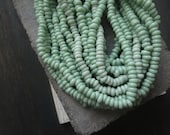 green lampwork Glass beads rondelle small Spacer  dics  light avocado  Indonesian  beads  - 10 inches  - 6A6-9