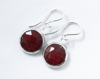 Genuine Ruby Earrings Red Ruby Earrings Sterling Silver Bezel Earring July Birthstone Precious Ruby Jewelry Gemstone Earring BZ-E-105-Ruby/s