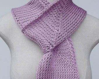 Pink Crochet Scarf, Tunisian Crochet Scarf,  Unique Scarf, Long Lightweight Scarf