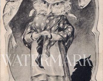 Funny Grandmother Owl and Fish Victorian Post Card Ephemera Altered Art Vintage Scrapbook Instant Digital Download Printable