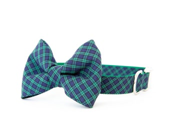 Bowtie Dog Collar - Navy & Kelly Mini Plaid