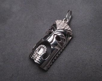 Tiki pendant - sterling silver