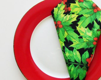 Christmas Holly Napkins / Set of 4 Red - Green - Black Christmas Napkins / Chic Colorful Holiday Table Decor / Unique Gift Under 40
