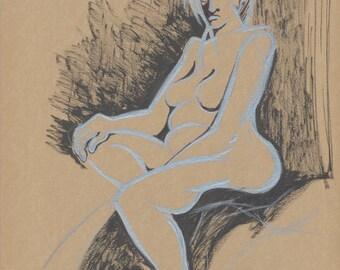 Nude Pencil Drawing, Female Nude Art, Fine Art Nude, Minimalist Nude Art, Contemporary Nude Art, Life Drawing Original Artwork One of a Kind