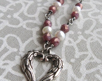Angel Wings Heart Pendant Necklace White Pearl Pink Czech Glass Valetines Day