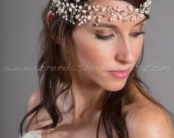Bridal Headband, Pearl Bohemian Halo, Rhinestone Bohemian Head Piece, Wedding Hair Accessory - Trish