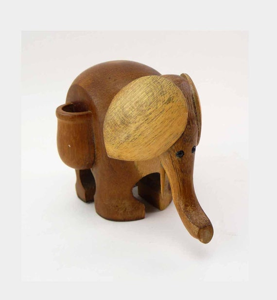 Items similar to 1960s wood carved elephant toothpick holder good luck carved pachyderm shabby - Wooden pocket toothpick holder ...