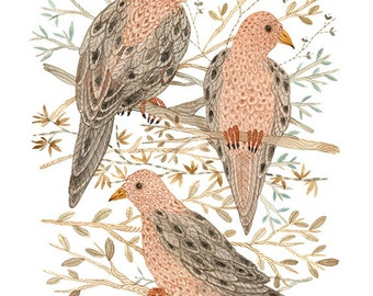 LARGE Mourning Doves Print,  woodland wall art, bird illustration, giclee watercolor print