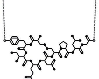Oxytocin Molecule Necklace - Matte Black
