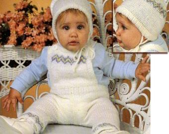 Baby Boy Knitting Pattern, Baby Bib Overalls Knitting Pattern, with Baby Hat Knitting Pattern, INSTANT Download Pattern PDF (2327)