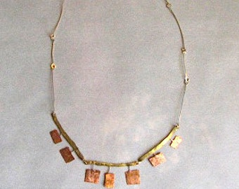 Minimalist mixed metals necklace