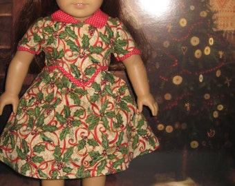 1930's Christmas dress fits American Girl Dolls and similar
