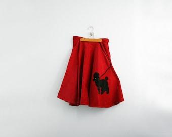 vintage 70s Does 50s Sock Hop Poodle Full Circle Skirt Halloween Costume M