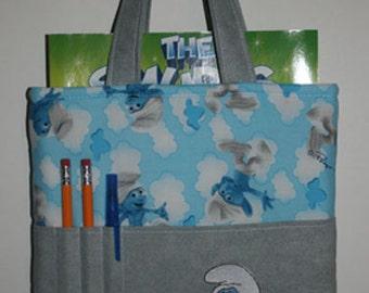 Smurf Crayon Bag, Tote Bag, Crayon Tote Bag, Crayon Holder, Smurf
