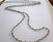 Long Apatite Gemstone 24k Gold Necklace - Customizable Pendant - Real Flowers - Opera Length Necklace - Apothecary BOHO Chic - READY to SHIP