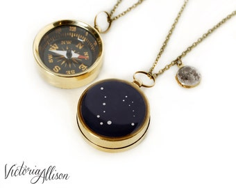 Stars and Moon Working Compass and Locket Necklace - Tiny Moon Locket and Personalized Constellation Compass, Custom Zodiac Gift