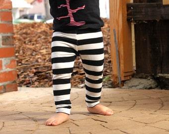 Baby Girl Baby Boy Black and White Striped Leggings: Toddler Boy Toddler Girl, Halloween leggings, baby pirate pants, toddler halloween