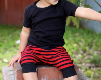 Baby Boy Baby Girl Red and Black Striped Harem Shorts: Etsy kid's fashion, toddler boy toddler girl