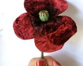 Burgundy Red Velvet Poppy Brooch Adornment