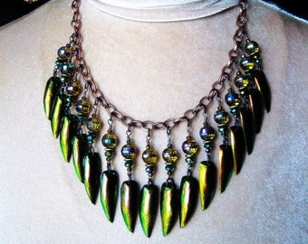 Jewel Beetle Wing Elytra Bib Amulet Necklace Rare Copper Gold Green Color Crystal Boho Gypsy Pagan FAERIE TRINKETS by Spinning Castle