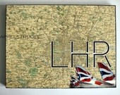 ARTWORK. Up in the Air Series. LHR. London Heathrow Airport, the UK. MapArt using an original 1884 Map of London