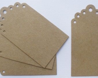 Elisse Larger Eyelet Scallop Tags  - Chipboard Die Cuts - Bare Gift Tag Embellishments