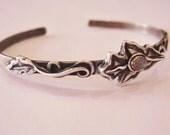 Mystic Oak Cuff Bracelet, oak jewelry,  cuff bracelet, sterling silver bracelet, labrodorite gemstone, gem cuff bracelet