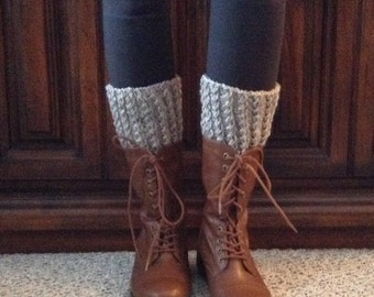 Gray Boot Topper/Boot Cuffs/Cable Boot Cuffs/Boot Leg Warmers/Winter Boot Cuffs/Gift for Her/Feminine Boot Toppers/Granite Cabled Boot Cuffs