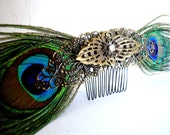 Peacock feather steampunk hair comb with filigree ornaments Fascinator perfect for the bohemian bride, date night or tribal gypsy all of us