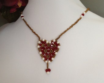 Valentine Red Swarovski Heart Crystal Necklace Set (Free Shipping to Canada & USA)