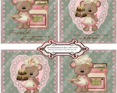 Rose Bears 1424 Coasters-Tiles Printable Handmade Digital Collage Sheet