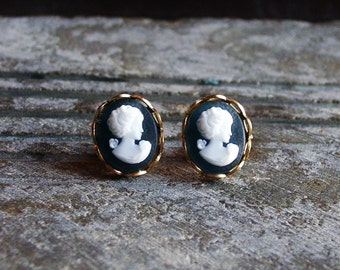 Cameo stud earrings tiny cameo post earrings blue white brass