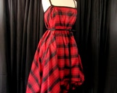 SAMPLE SALE Red and Black Plaid Swing Dress
