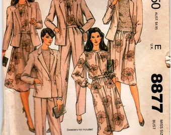 Vintage UNCUT Jones New York McCall's Pattern 8877 - Misses Jacket, Blouse, Skirt & Pants - Size 14